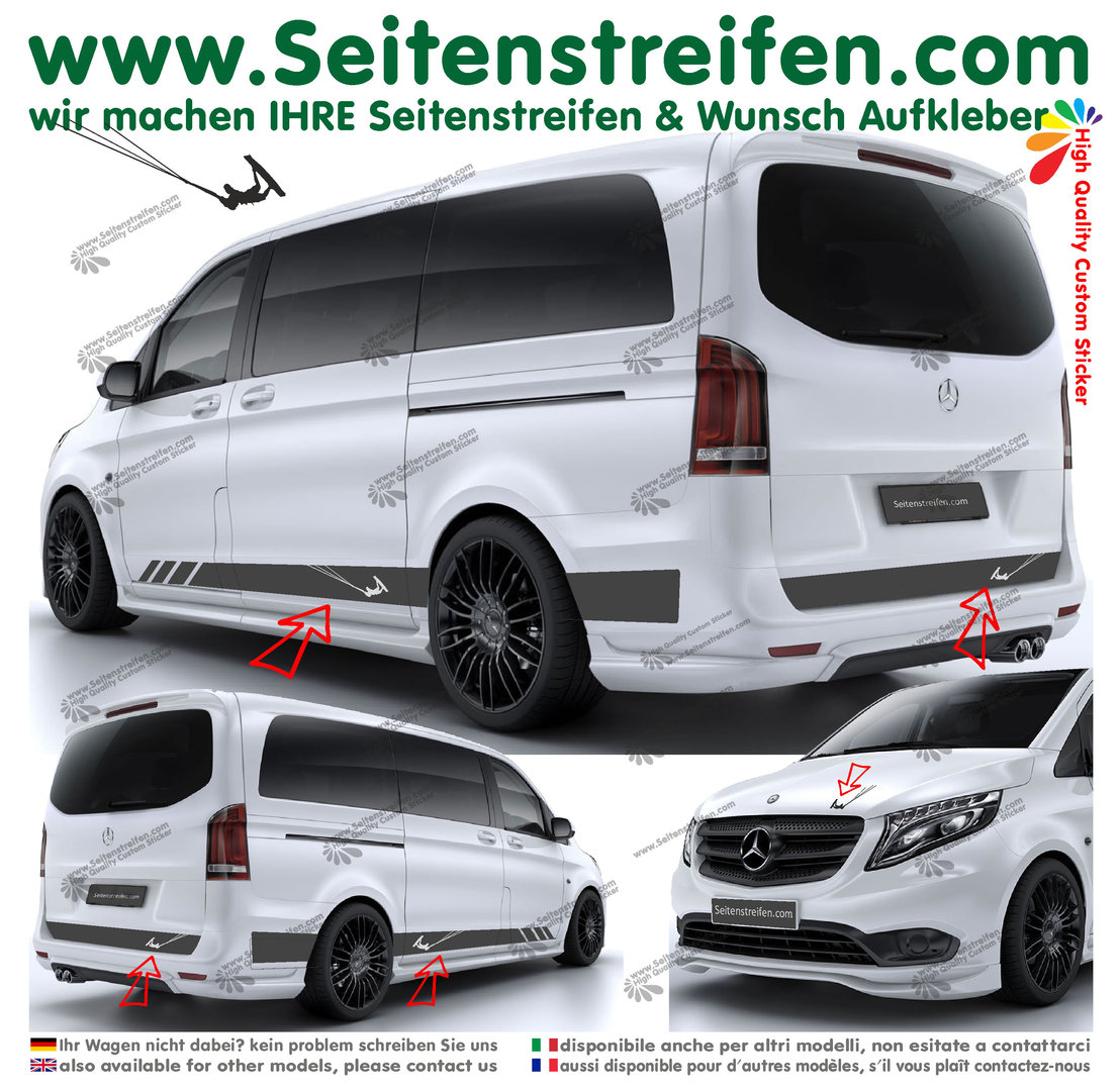 Mercedes Benz Class V - 447/693/638  Kite Surf - Side Stripes Graphics Decals Sticker Kit N° -  6778