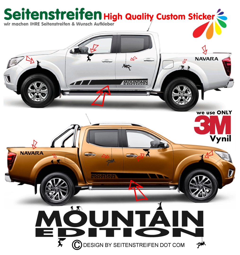 Nissan Navara Mountain Edition Pegatinas Laterales / Adhesivo / Sticker - set completo N° 1540