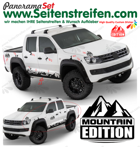 VW Amarok Matterhorn Mountain Edition Berg Outdoor Dekor Aufkleber Seitenstreifen Set Nr.: 7006