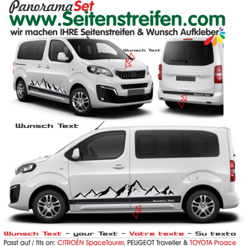 Citroën Spacetourer / Citroën Jumpy votre texte montagnes autocollant sticker set - 9003
