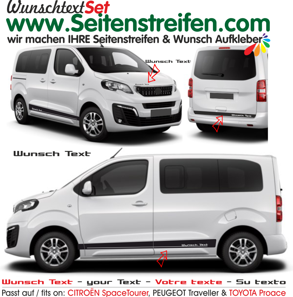 Citroën Spacetourer / Citroën Jumpy votre texte autocollant sticker set - 9004