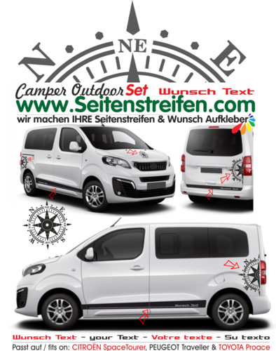 Citroën Spacetourer / Citroën Jumpy - Votre texte boussole autocollant sticker set - 7906