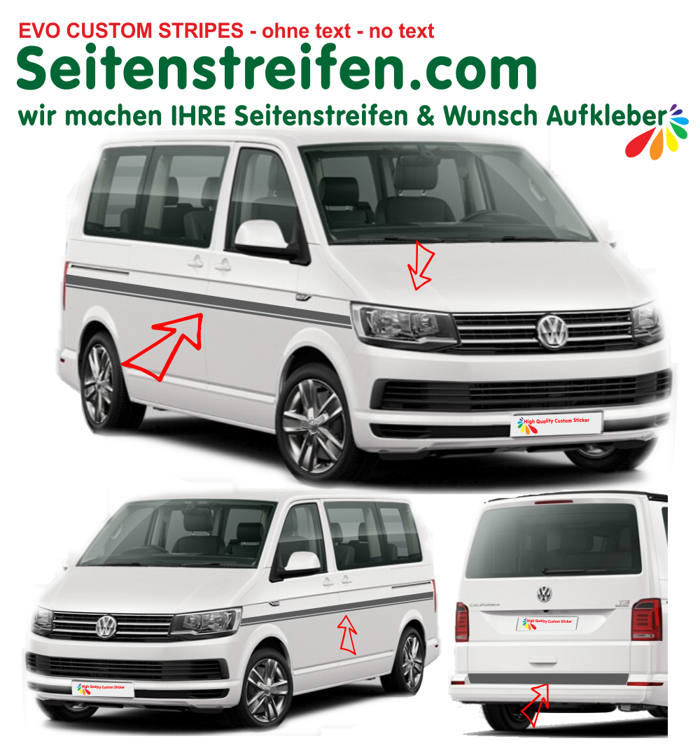 VW Bus T5 T6 - No Text Custom set de pegatinas laterales set completo Set: 9462