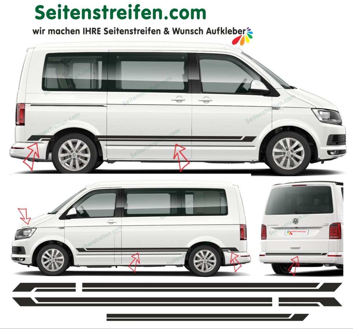 VW Bus T5 T6 -  set de pegatinas laterales set completo