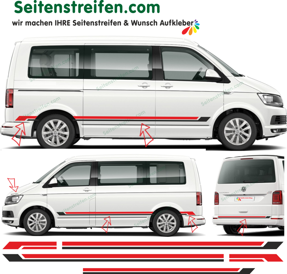 VW Bus T5 T6 Bicolor NEGRO Y ROJO - Edition 2018  set de pegatinas laterales set completo 9074