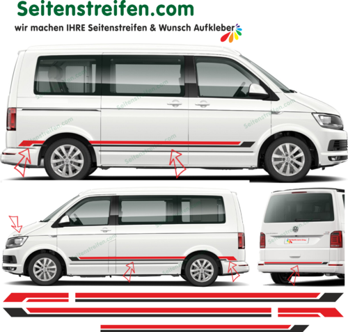 VW Bus T5 T6 - Bicolor Black Red Edition 2018 bande latérale autocollant ensemble complet set 9074