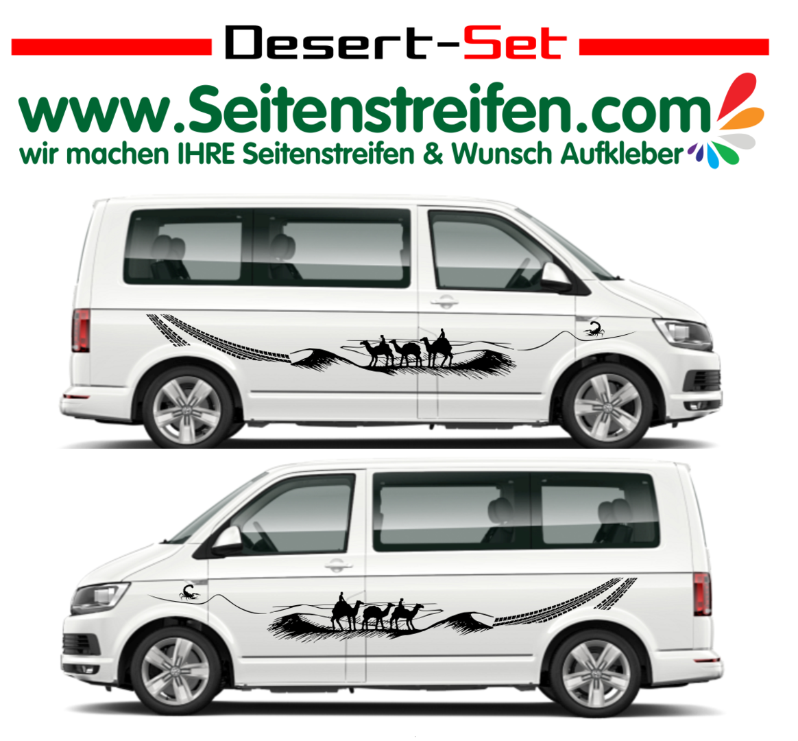 VW Bus T4 T5 T6 Wüste Kamele Desert Wheels Panorama Outdoor Aufkleber Dekor Set Nº.: U1906