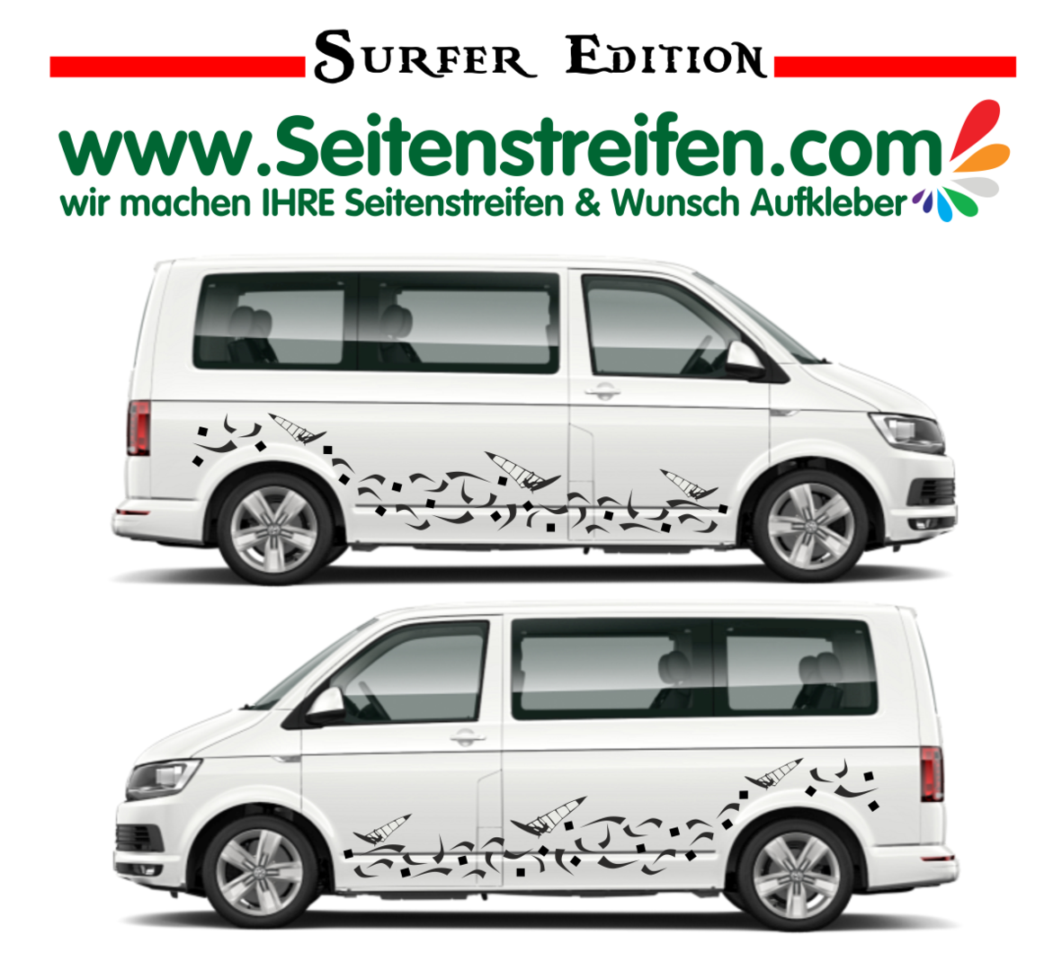 VW Bus T4 T5 T6 - Surf 2018 Edition - Side Stripes Graphics Decals Sticker Kit - Nº U1913