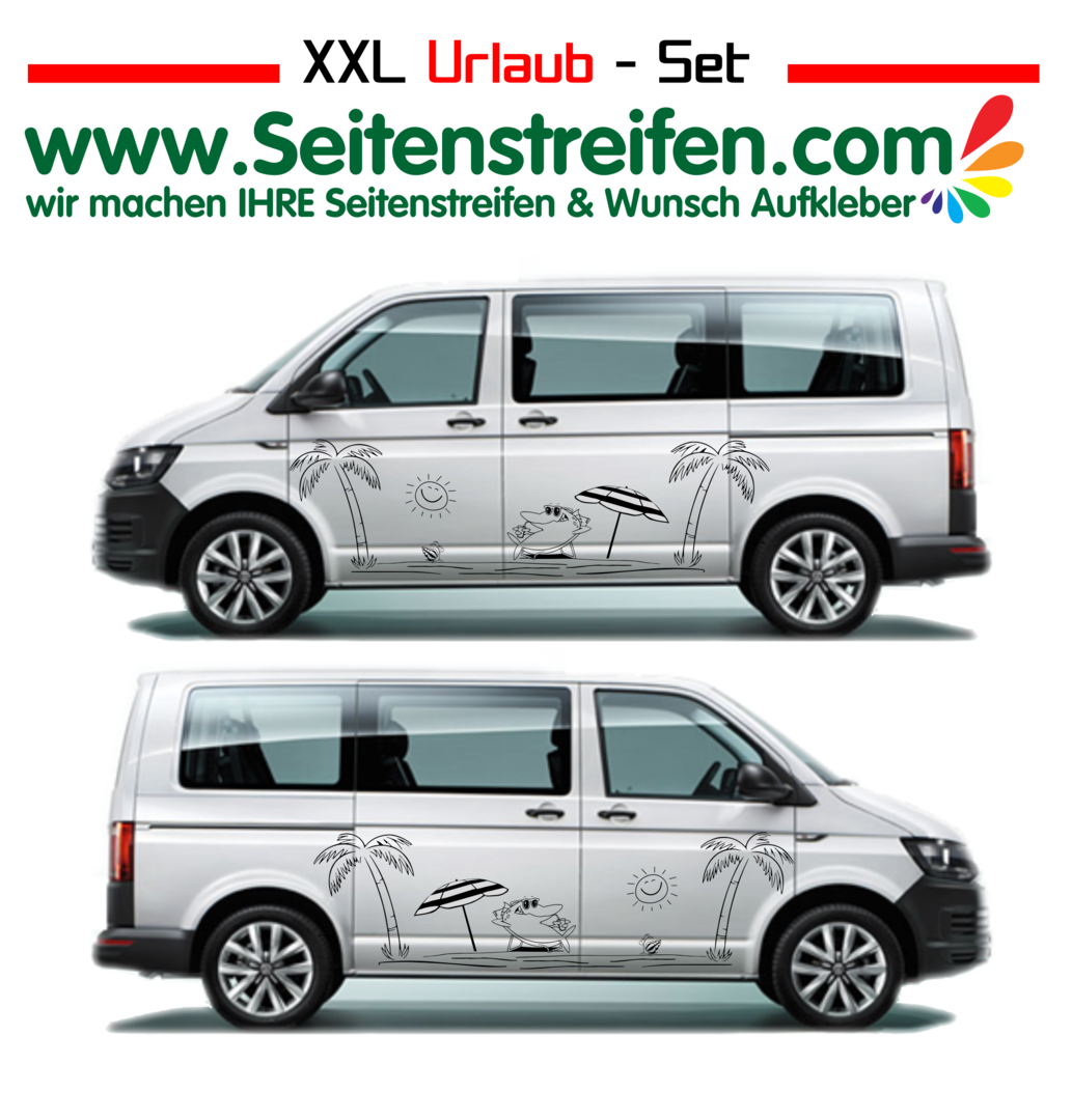 VW Bus T4 T5 T6 xxl Shark Chillout Panorama Beach Aufkleber Dekor Set Nº.:U1916
