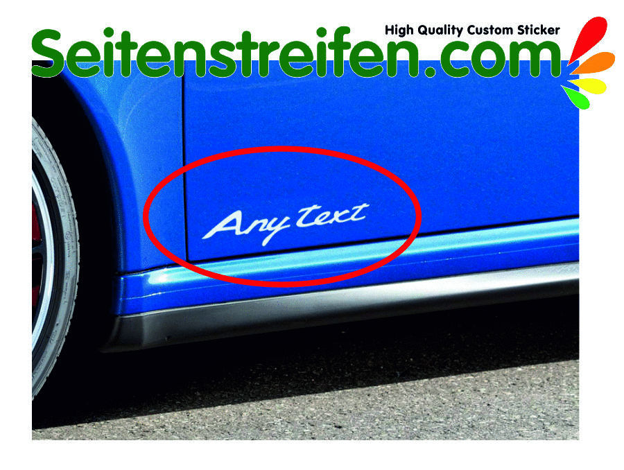 PORSCHE 911 (991) Door script decals (supplied as a pair) with your own text/model - 1991