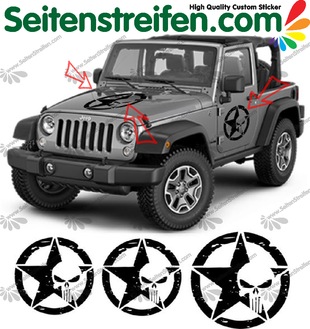 "Jeep Wrangler ""Punisher"" Bonnet & Doors Decals / Stickers"