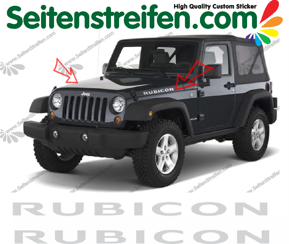 "Jeep Wrangler ""Rubicon"" side Bonnet / Hood Decals / Stickers"