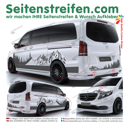 Mercedes Benz V Klasse 447/693/638 XXL Mountain Outdoor autocollant ensemble complet - N° 3008