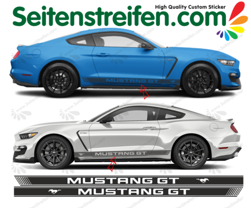 Ford MUSTANG GT Sticker bande latérale autocollant ensemble complet set 3147