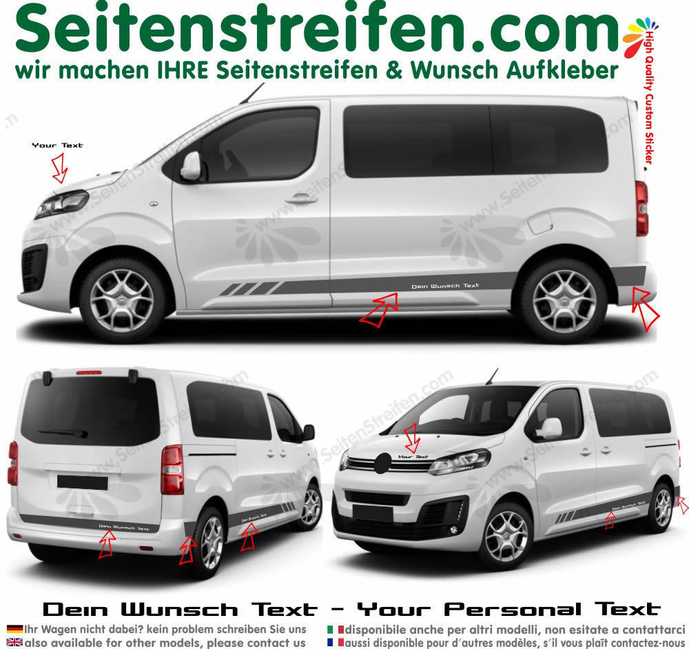 Citroën Spacetourer / Citroën Jumpy evo edition votre texte autocollant sticker set 9014