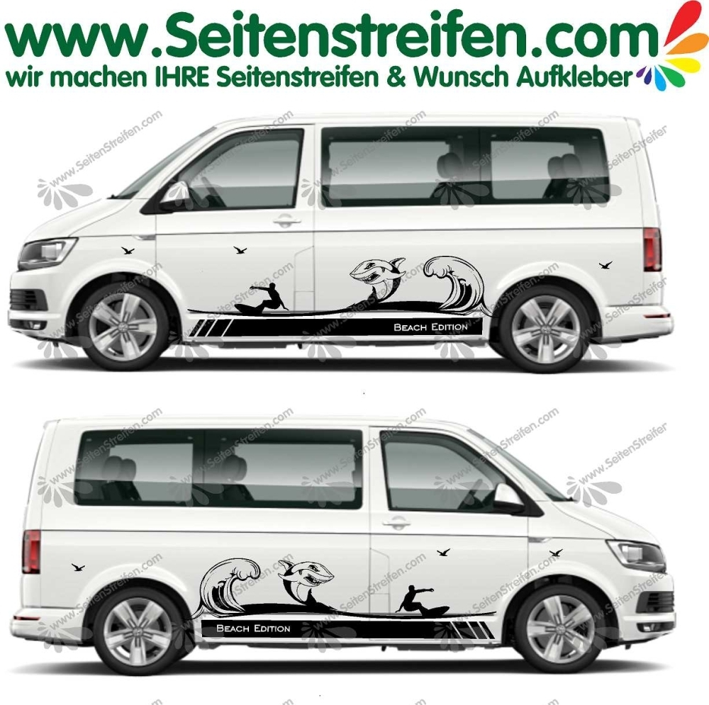 VW Bus T4 T5 T6 Beach Edition XXL Wave Shark La Ola Surf Aufkleber Dekor Set - U1992