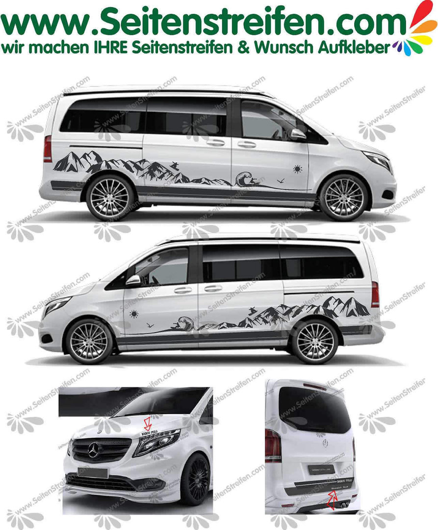 Mercedes Benz Class V - 447/693/638 Mountains Snowboard Sea Surf Wave Decals Sticker Kit - N° U6700