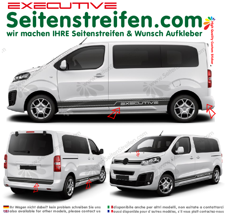 Citroën Spacetourer & Jumpy  EXECUTIVE Aufkleber Seitenstreifen Dekor Set  N° 3877
