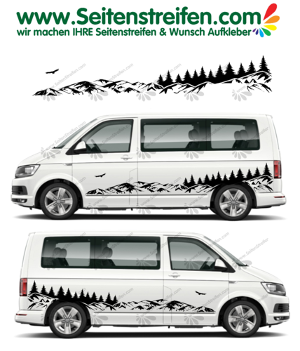 VW T4 T5 T6 Berge Mountain Wald Outdoor  Adler Panorama Aufkleber Dekor Set - U2001