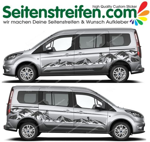 FORD TOURNEO CONNECT - Berge Biker Ski Edition Aufkleber Dekor Set - U5001
