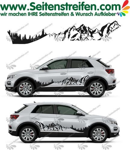 VW T-Roc Mountain Berge & Wald Panorama  Aufkleber Deko Set - U5010