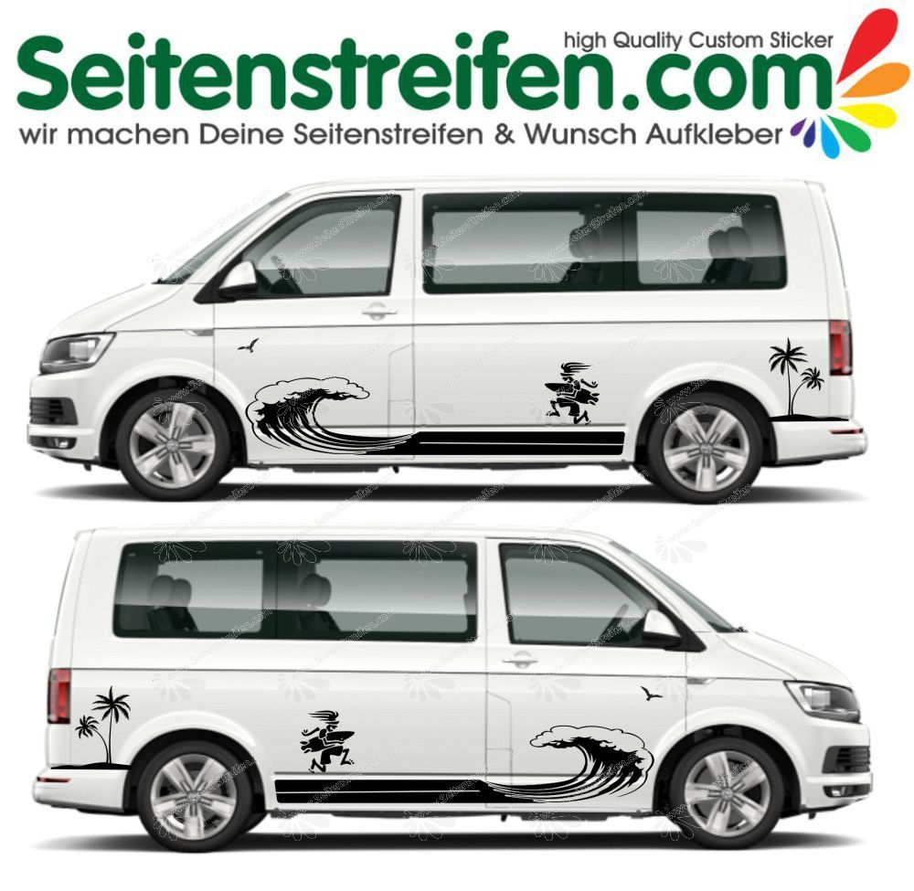 VW T4 T5 T6 Wave Ola Wellenreiter Surfer Palme Beach Panorama Aufkleber Dekor Set - U5018