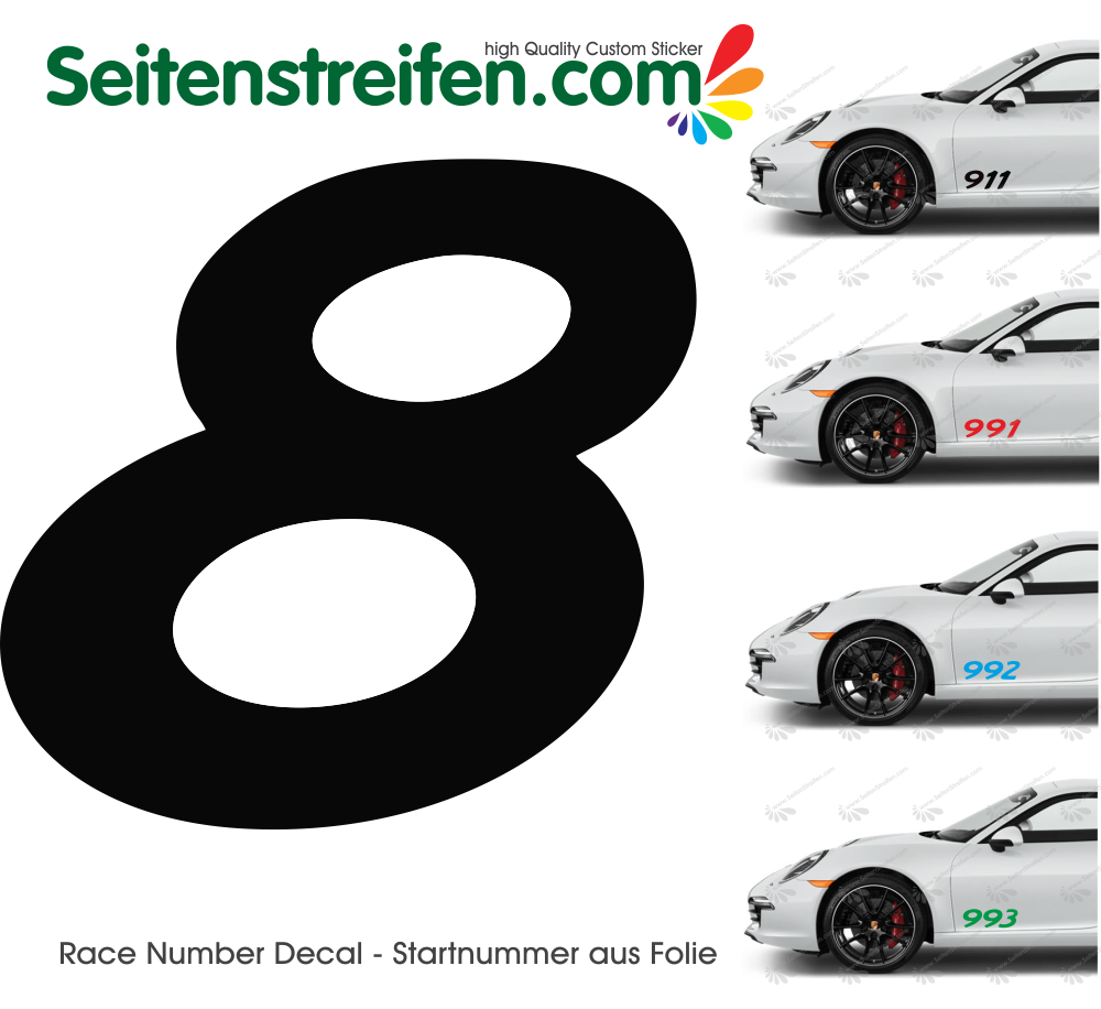 Race Number Decal Sticker - height 20 cm