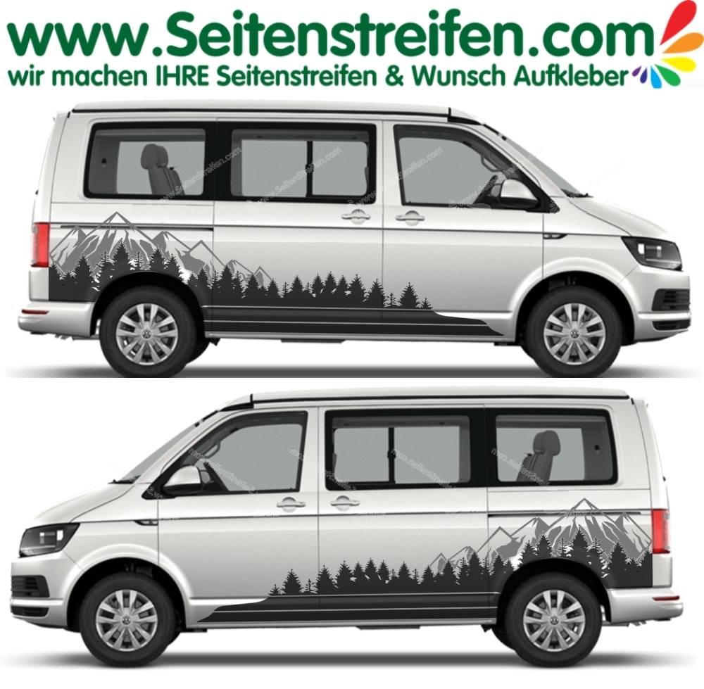 VW BUS T4 T5 T6 Berge Wald Mountain Aufkleber Dekor Sticker 2D Set in 2 Farben - Art. Nr.: 5145