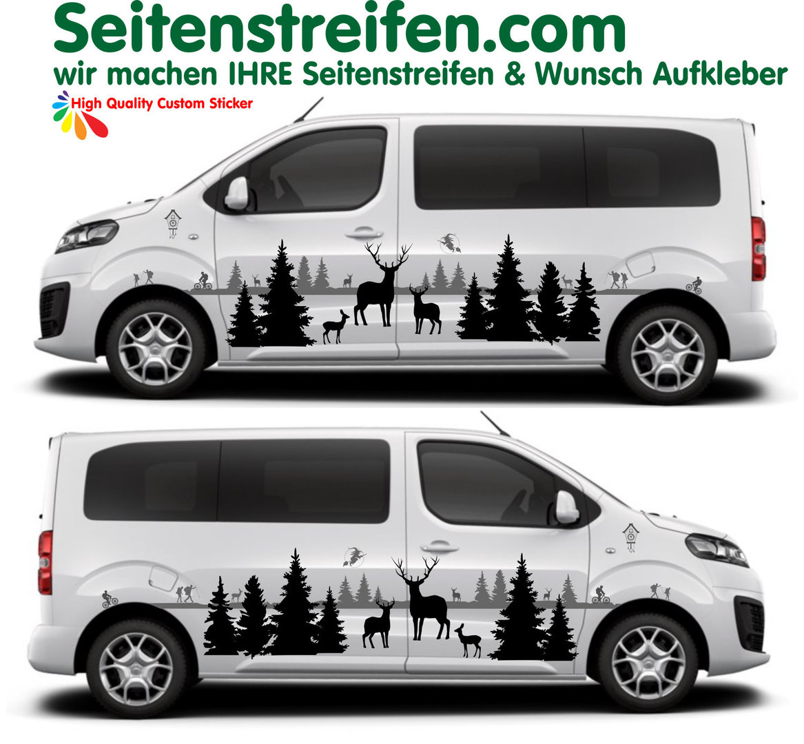 Citroën Spacetourer / Jumpy Black Forest Wald Outdoor 2D Aufkleber Dekor Set - D3339