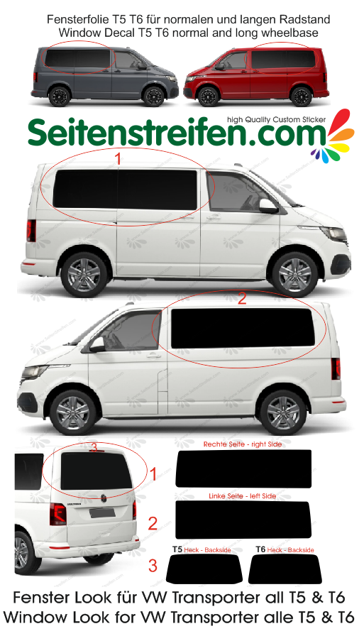 VW Transporter T5 T6 window decal sticker graphics kit - N ° 4430