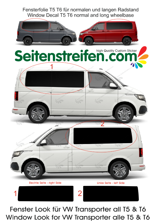 VW Transporter T5 T6 window decal sticker graphics kit - N ° 4431