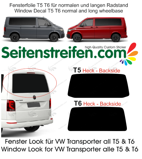 VW Transporter T5 T6 window decal sticker graphics kit - N ° 4432