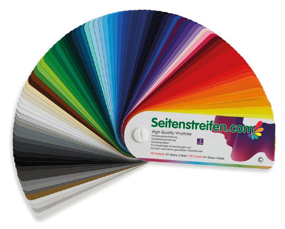 90 Farben unser Farbfächer Seitenstreifen.com zur exakten Farbauswahl - M7